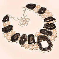 Крупное колье, ожерелье из натурального ЖЕМЧУГА и Черного АГАТА