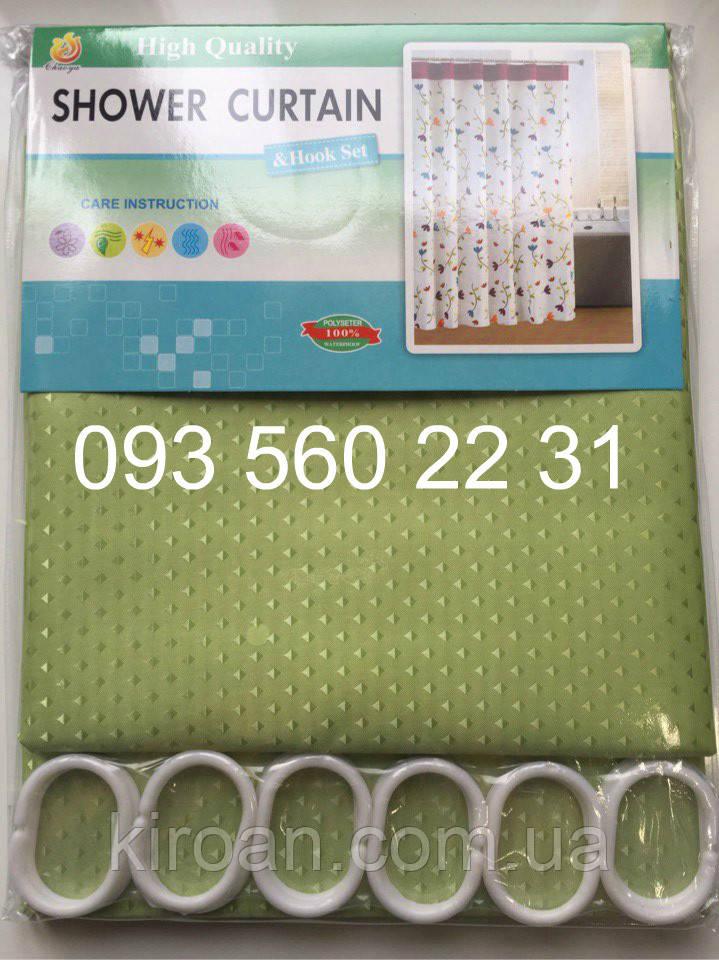 """Зеленая шторка для душа/ванной, тканевая, однотонная """"Пика"""" 180х180 см"""