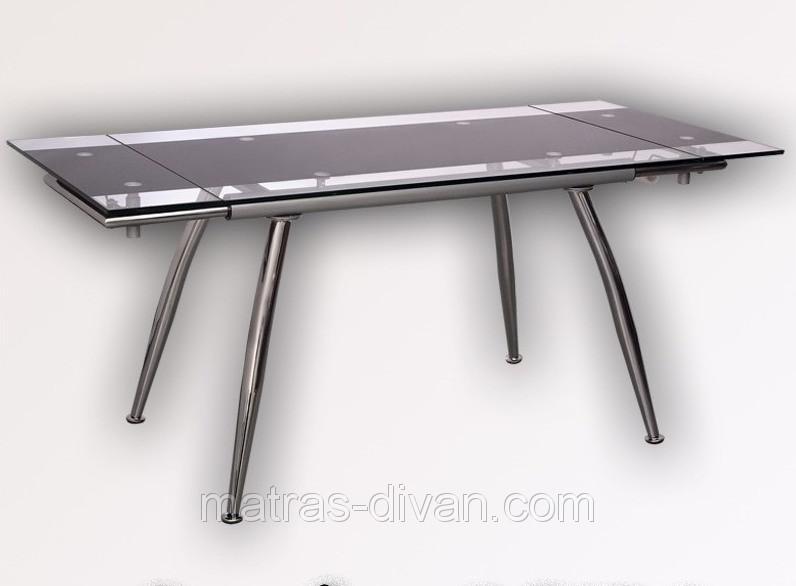 """Стол обеденный раскладной  B179-4 каркас хром, база стола-цвет """"алюм"""", столешница с черной тон"""