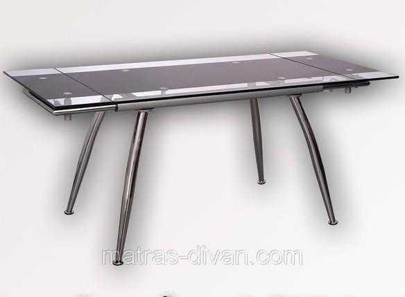 """Стол обеденный раскладной  B179-4 каркас хром, база стола-цвет """"алюм"""", столешница с черной тон, фото 2"""