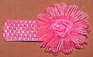 Ажурная детская повязка с латексной розой малиновая