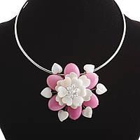 Колье на обруче Розовый Цветок перламутр и натуральный агат  Ø 6см
