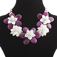 """Колье """"Фиолетовый цветок"""" 5 цветков из перламутра и агата"""