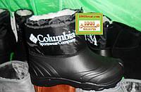 Резиновые сноубутсы-дутики подростковые, женские на меху Columbia (сапоги, ботинки)