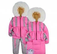 Детский зимний комбинезон - конверт Лапочка Розовый на овчине на рост 74