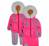 Детский зимний комбинезон - конверт Лапочка Розовый-неон на овчине на рост 74