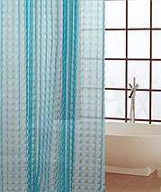 Синяя шторка для ванной 3D голограмма 180х180см, фото 3