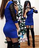 Женское стильное комбинированное платье с украшением (5 цветов)        , фото 3