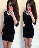 Женское стильное комбинированное платье с украшением (5 цветов)        , фото 5