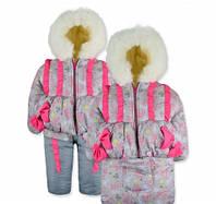 Детский зимний комбинезон - конверт Лапочка с узорами на овчине на рост 74