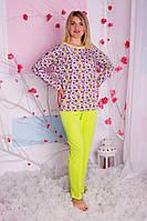 Пижама женская цветочки салатовые брюки XS