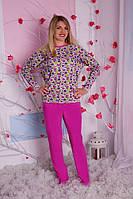 Пижама женская цветочки сиреневые брюки S