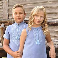 Голубая вышиванка для мальчика и голубое вышитое платье для девочки