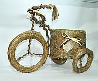 Кашпо -Велосипед большой- солома декор