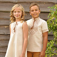 Комплект: вышиванка для мальчика и вышитое платье для девочки, фото 1