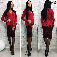 Женское стильное платье-баска с широким кружевом (2 цвета)