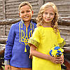 Вышиванка с гербом Украины для мальчика и желтое вышитое платье для девочки