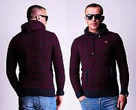 Шерстяной мужской свитер с капюшоном, разные расцветки