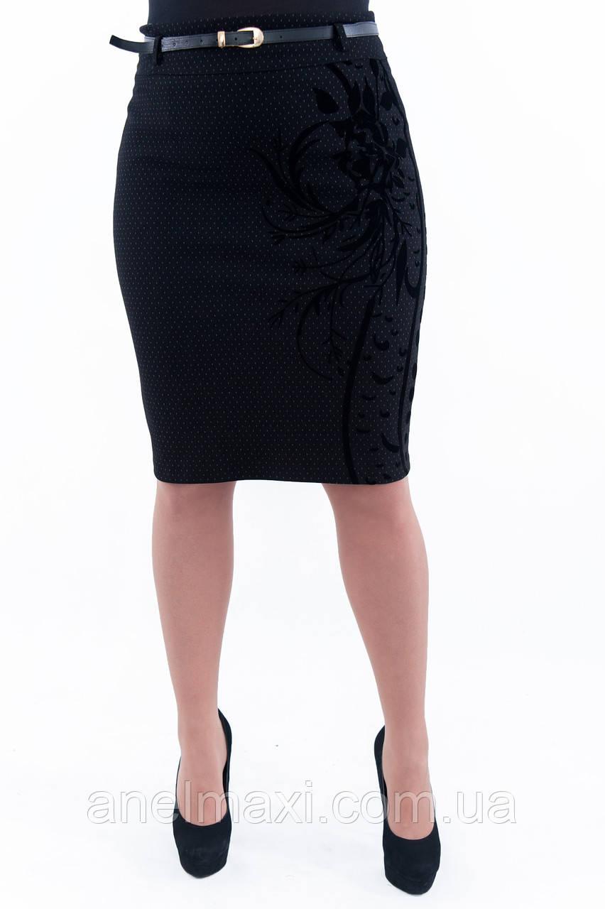 ff4b485ac91 Женская черная юбка с бархатным узором Н32 - Женская одежда больших размеров  в Хмельницком
