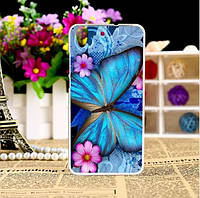 Бампер силиконовый чехол для Huawei Y6ii Y6 II с рисунком Бабочка в цветах, фото 1