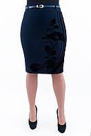 Женская синяя юбка с бархатным узором Н33, фото 1