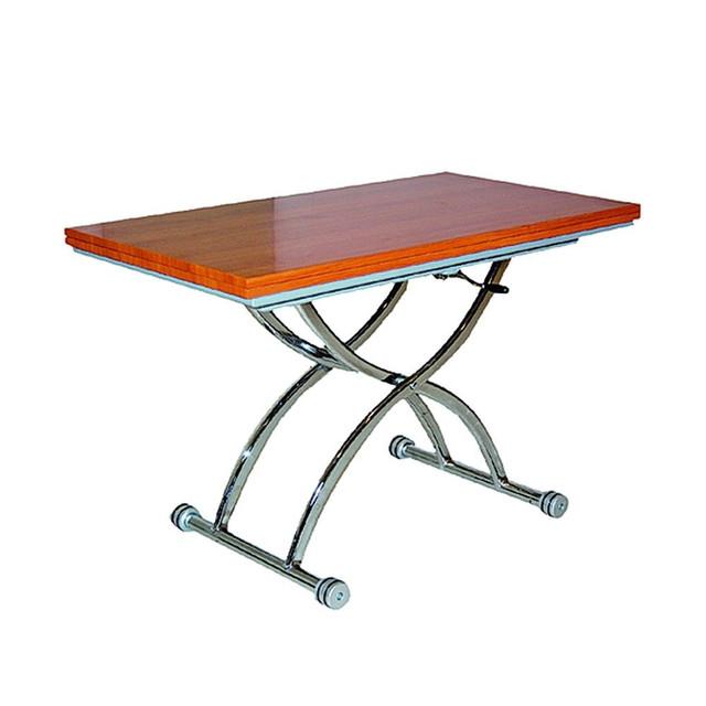 Стол-трансформер обеденно-журнальный Голд-05 каркас хром, столешница ламинированное ДСП, отделка цвет вишни, пневмомеханизм, на роликах.