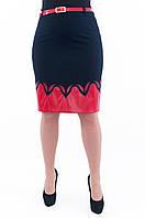 Женская синяя юбка с вставкой из красной эко-кожи 224, фото 1