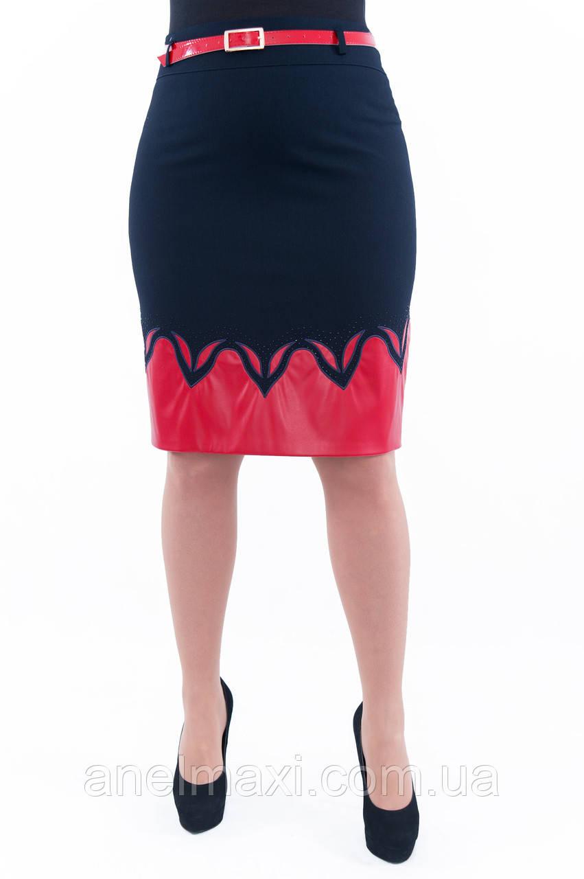 fb0dca367b8 Женская синяя юбка с вставкой из красной эко-кожи 224 - Женская одежда  больших размеров