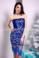 Синие платье с французским кружевом.