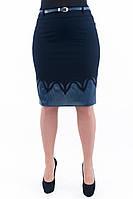 Женская синяя юбка с вставкой из синей эко-кожи 224, фото 1
