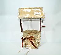 Кашпо колодец большой винтажный, мешковина декор
