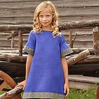 Голубое вышитое платье для девочки с коротким рукавом, фото 1