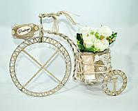 Кашпо французский велосипед винтажный, мешковина декор