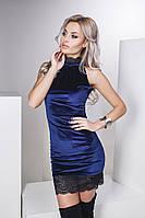 Красивое платье из бархата и кружева цвет синий, фото 1