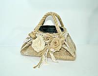 Кашпо сумка винтажная, мешковина декор