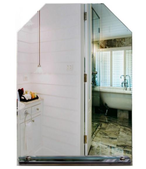 Зеркало для ванной с полочкой шестиугольное