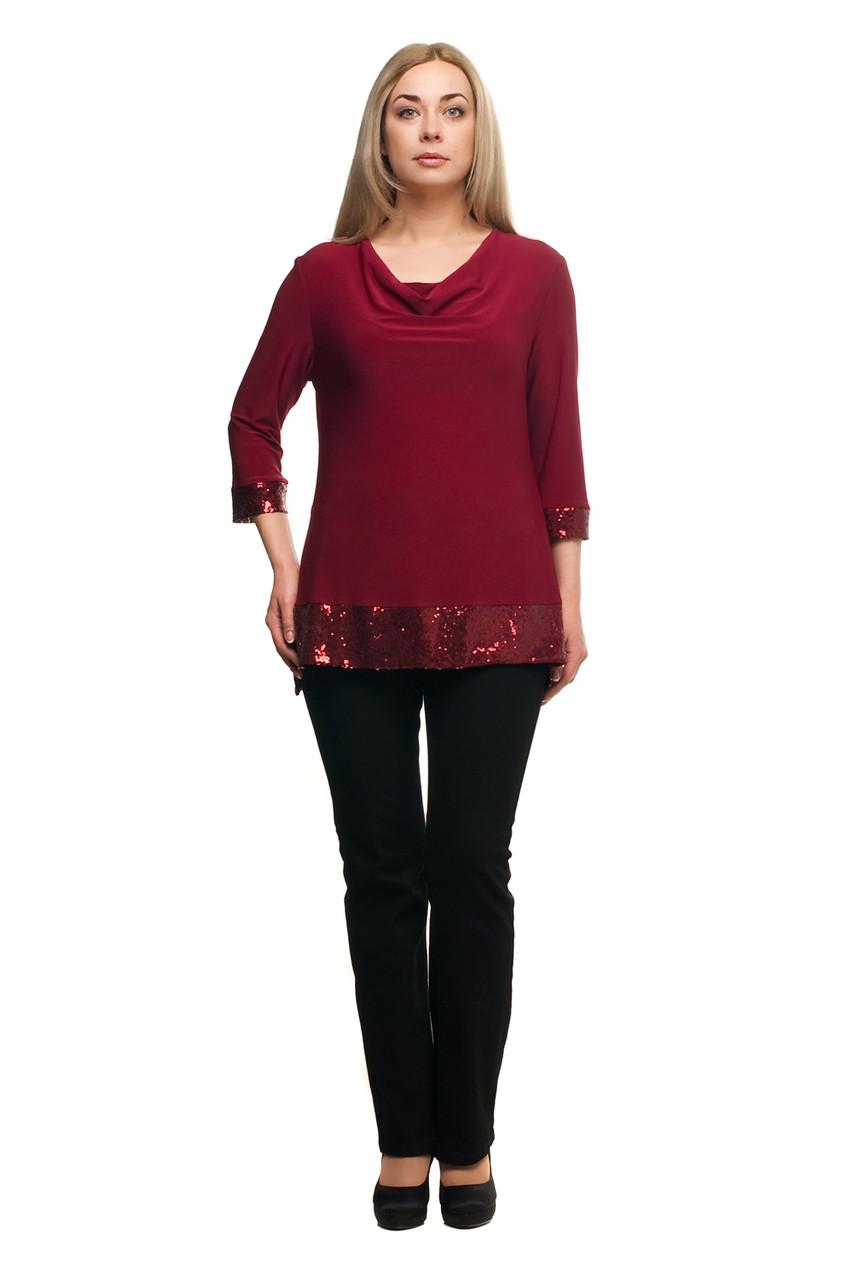 Женская нарядная блуза большого размера 1710008/7 пайетки