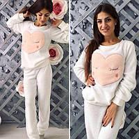 Пижама женская махровая теплая (штаны и кофта)