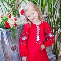Красное вышитое платье для девочки с длинным рукавом