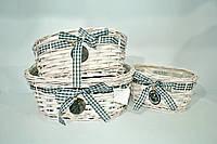 """Набор плетеных корзинок """"LOVE"""", овальные белые,  декор, 3шт"""