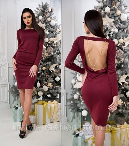 Красивое трикотажное платье с открытой спиной бордовое