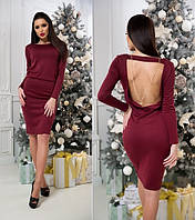 Красивое трикотажное платье с открытой спиной бордовое, фото 1