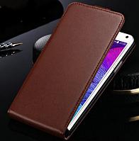 Кожаный чехол флип для Samsung Galaxy Note 4 N9100 коричневый