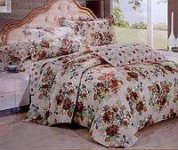 Комплект полуторного постельного белья East Comfort коричневые цветы