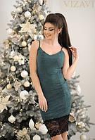 Платье короткое замшевое стрейчевое с кружевом бутылка