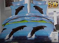 5D Постельное бельё Евро размер Lenjerie De Pat - дельфины
