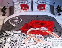 Комплект постельного белья Евро размера 5D Lenjerie De Pat роза на бело-сером фоне