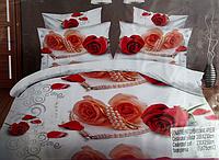 5D Постельное бельё комплект Евро размера Lenjerie De Pat красные розы