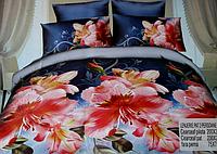 5D Постельное бельё комплект Евро размера Lenjerie De Pat - цветы на синем