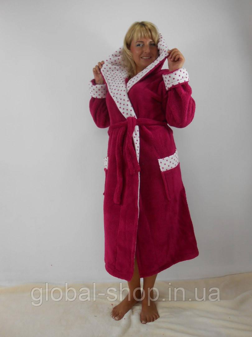Халат женский батал длинный с двойным капюшоном